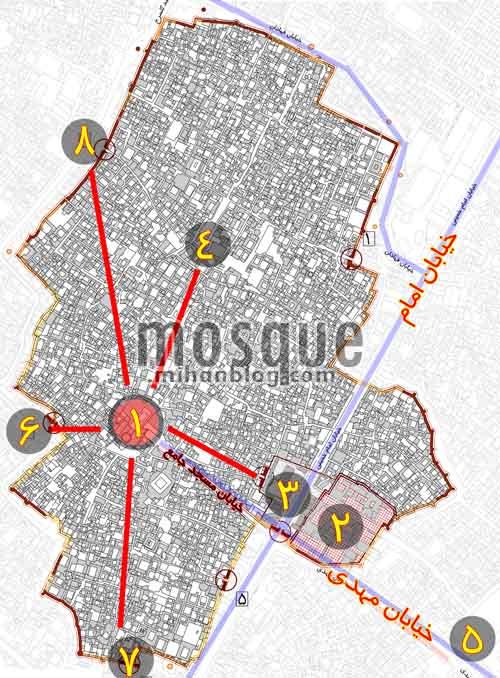 موقعیت مسجد جامع یزد
